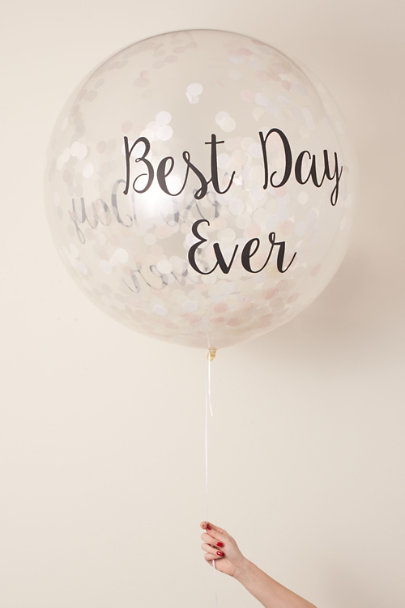 Bubblegum Balloons White Best Day Ever Jumbo Confetti Balloon | BHLDN