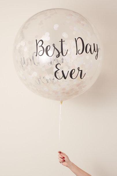 White Best Day Ever Jumbo Confetti Balloon | BHLDN
