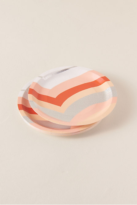 Peach Stripe Small Paper Plates