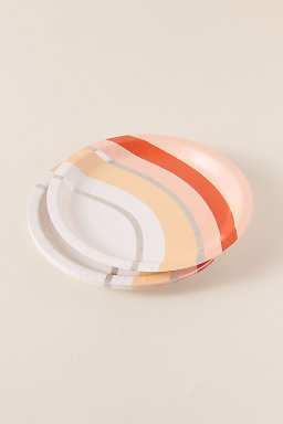 Peach Stripe Large Paper Plates