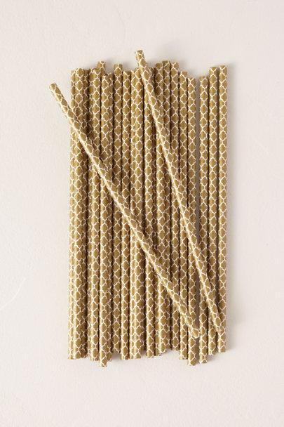 Gold Quatrefoil Paper Straws | BHLDN