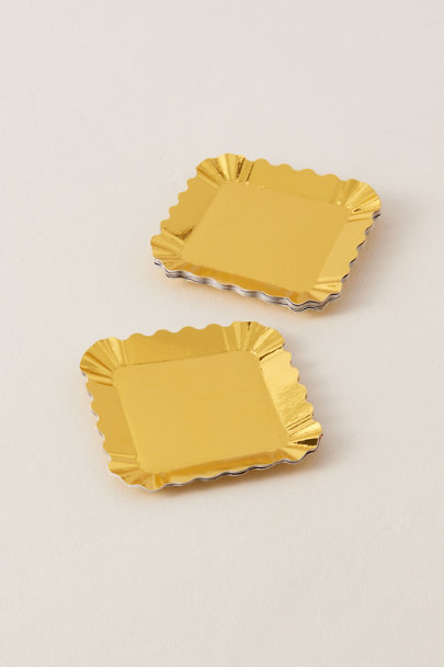 Sophistiplate Gold Scalloped Small Appetizer Paper Plates | BHLDN