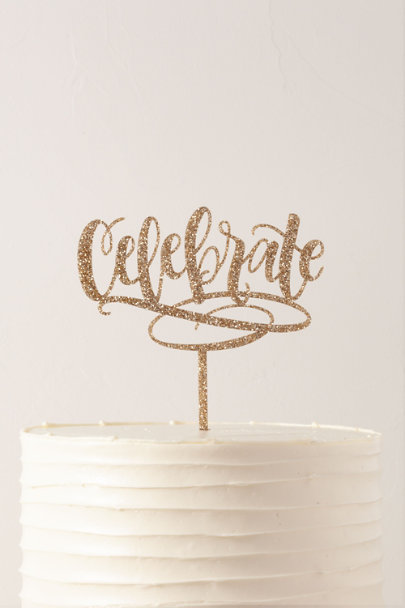 Alexis Mattox Gold Celebrate Glitter Cake Topper | BHLDN