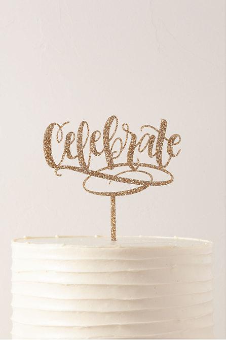 Celebrate Glitter Cake Topper