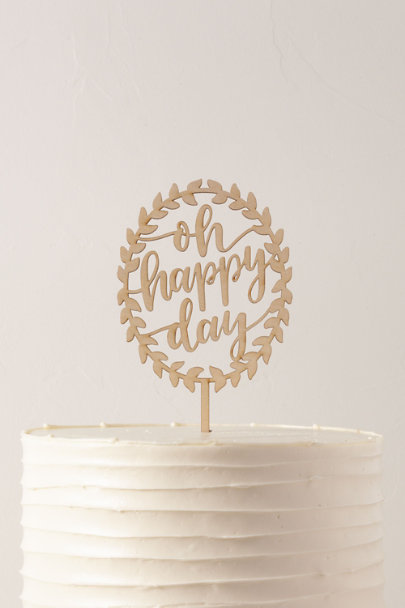 Alexis Mattox Brown Oh Happy Day Cake Topper | BHLDN