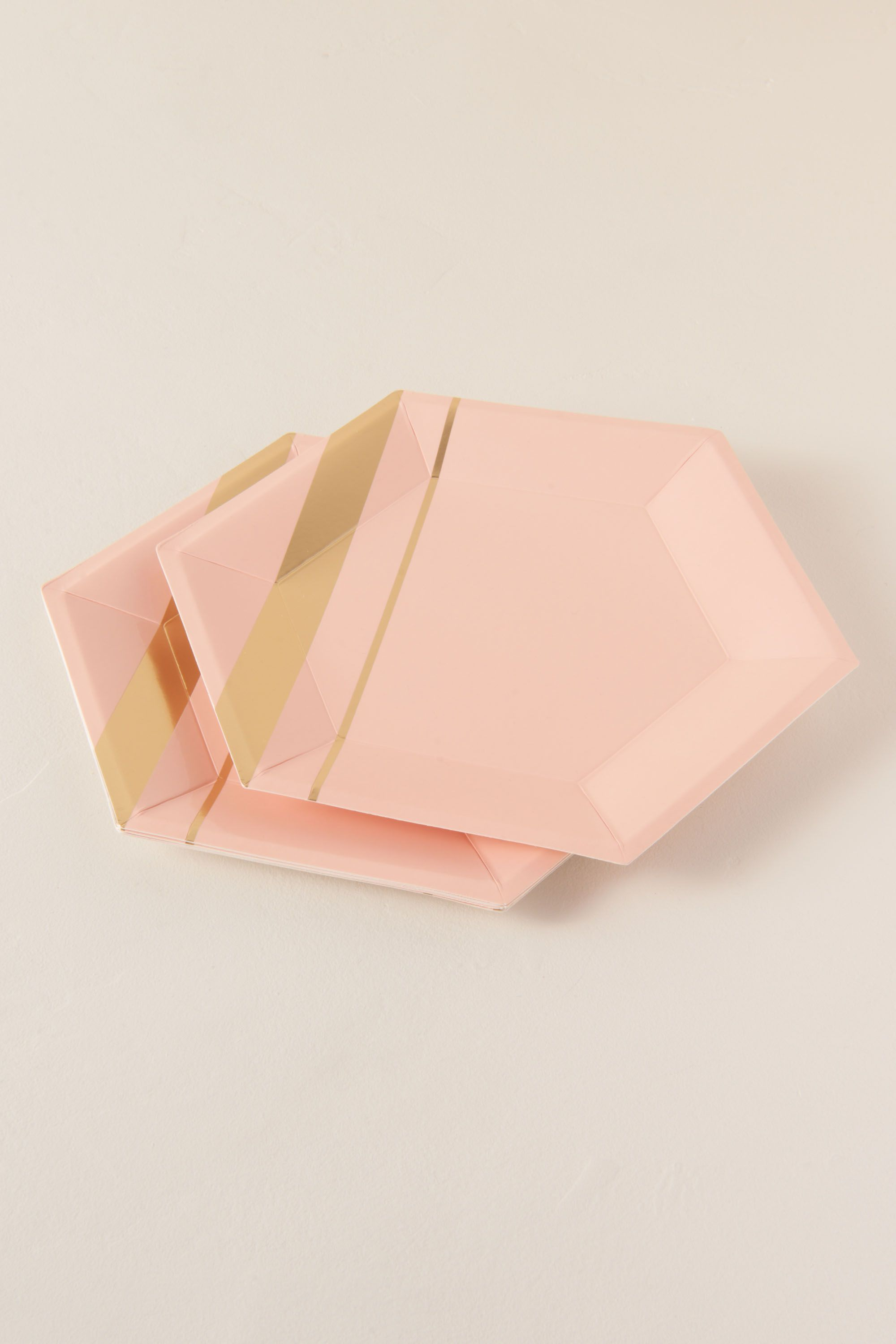 Pink Hexagon Large Paper Plates | BHLDN