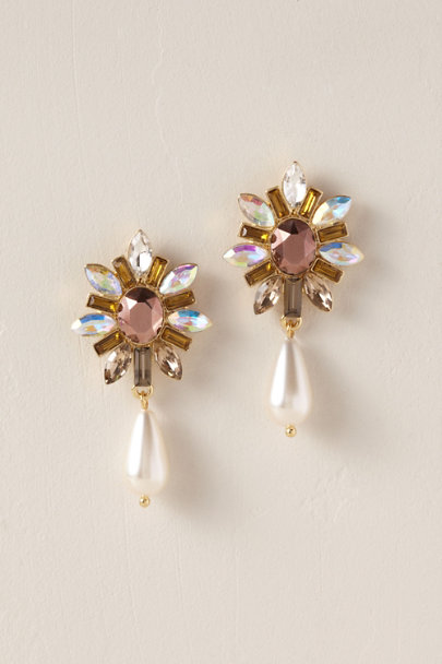 Jardin Gold Bejeweled Bloom Drop Earrings | BHLDN