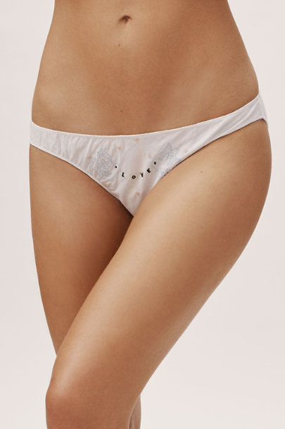 Only Hearts White 3-Pack Embroidered Cotton Panties | BHLDN