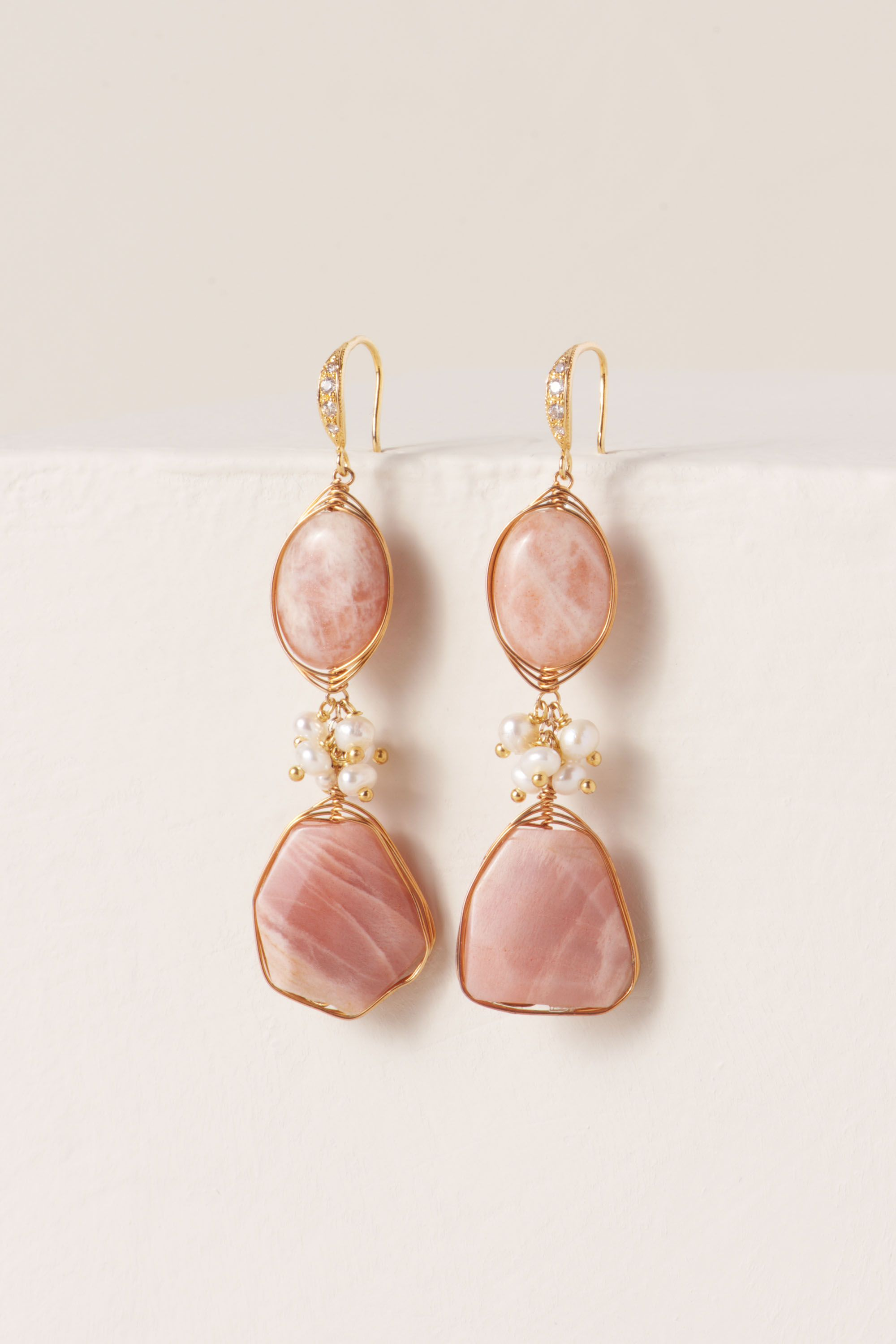 Gold Pink Moonstone Earrings | BHLDN