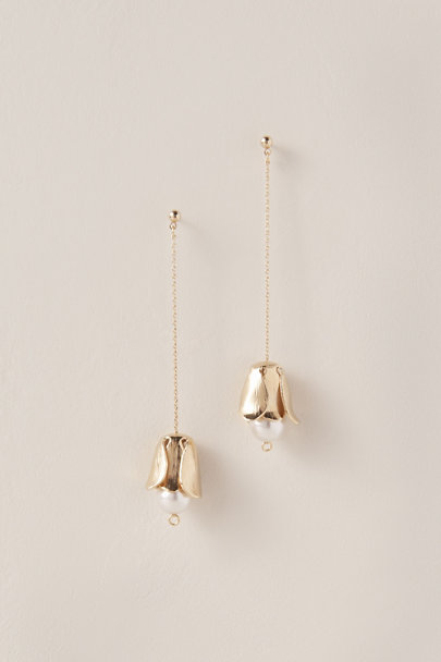Cloverpost Gold Pearl Posy Earrings | BHLDN