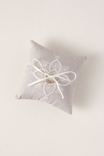 Grey Embroidered Ring Pillow | BHLDN