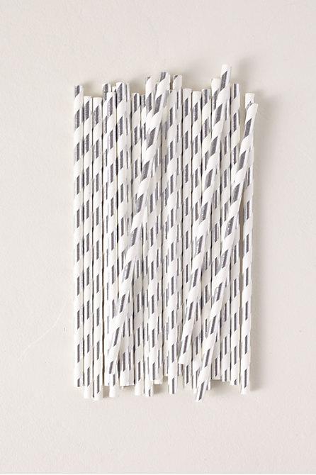 Foil Stripe Paper Straws