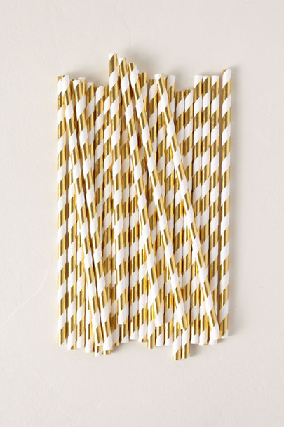 BASH Party Goods Gold Foil Stripe Paper Straws | BHLDN