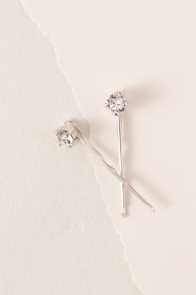 France Luxe Silver Diamante Hair Pins | BHLDN