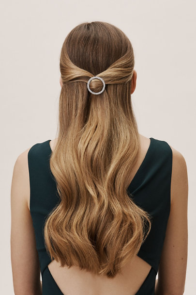 France Luxe Silver Crystal Circle Barrette | BHLDN
