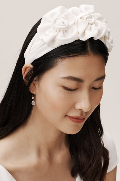 Jennifer Behr Cream Rosette Headband | BHLDN