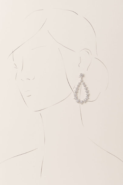 Nina Silver Crystal Bouquet Chandelier Earrings | BHLDN