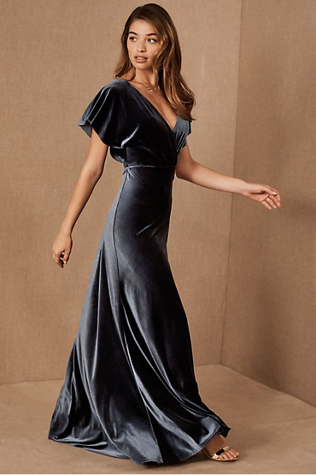 Jenny Yoo Ellis Velvet Open Back Dress