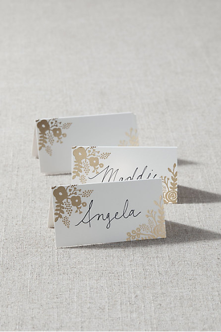 Gold Foil Flower Place Cards (8)