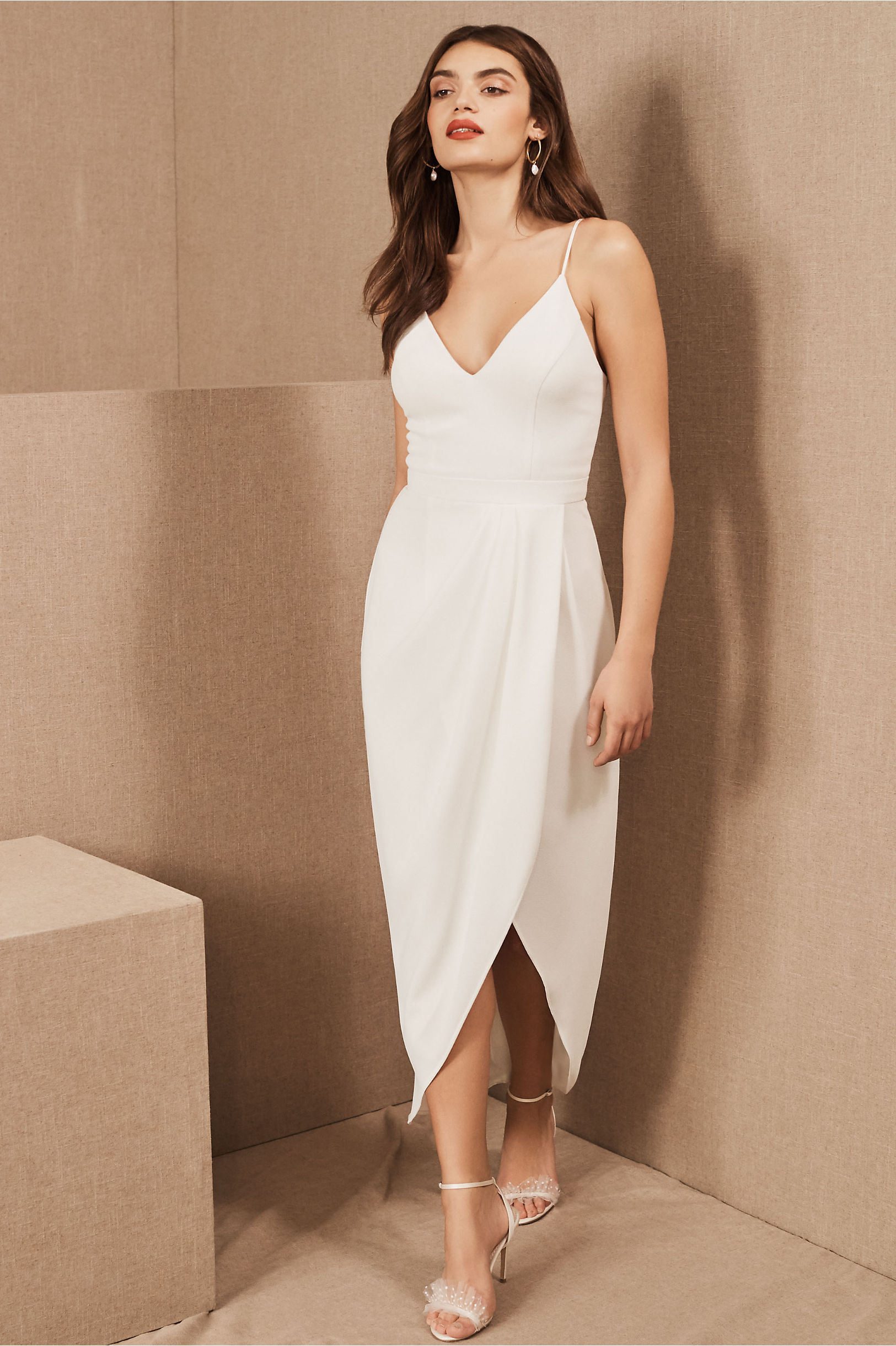 Caron V-Neck Crepe Dress