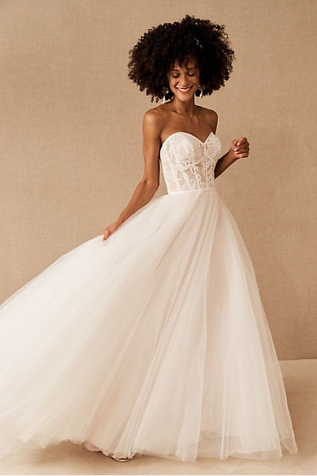 Wtoo by Watters Clarinda Strapless Lace Gown