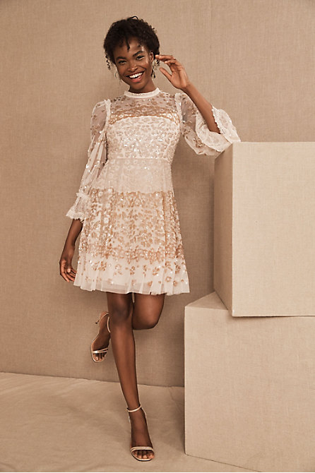 Needle & Thread Patchwork Sequin Mini Dress