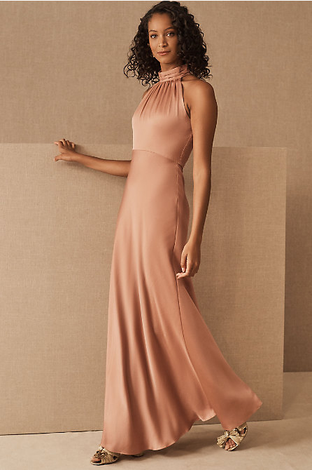 Cortland High Neck Satin Dress