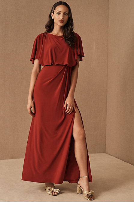Lena Flutter Sleeve Jersey Dress