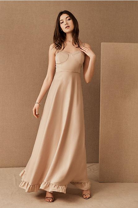 Tara Satin Ruffle Dress
