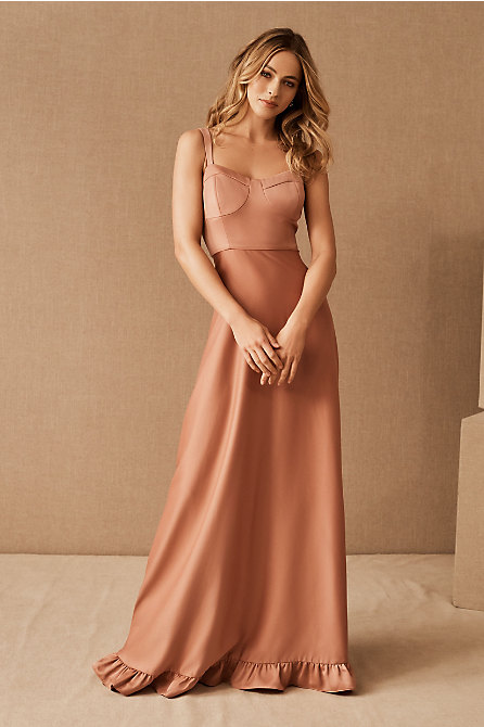 Tara Satin Ruffle Dress