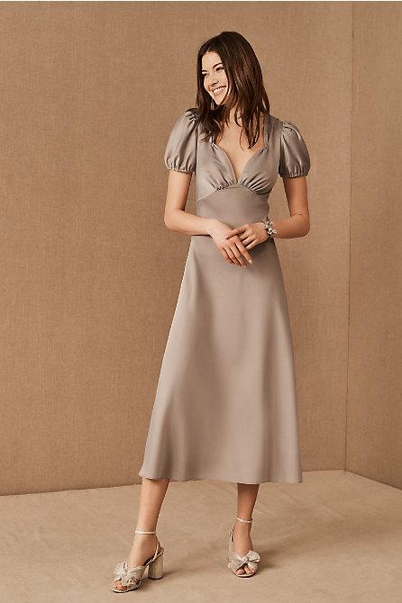 Shelley Satin Charmeuse Midi Dress