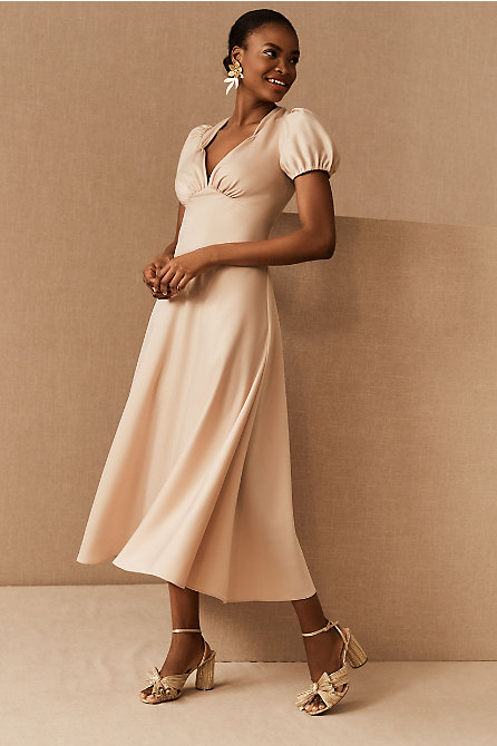 Shelley Satin Charmeuse Midi Dress