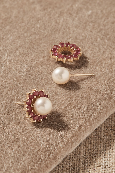 View larger image of Vintage Akoya Pearl & Ruby Halo Earrings