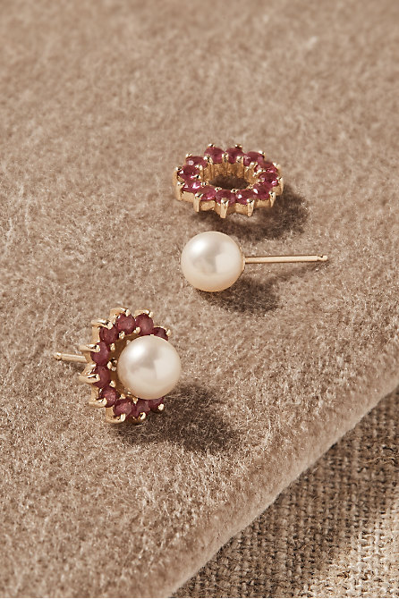 Vintage Akoya Pearl & Ruby Halo Earrings