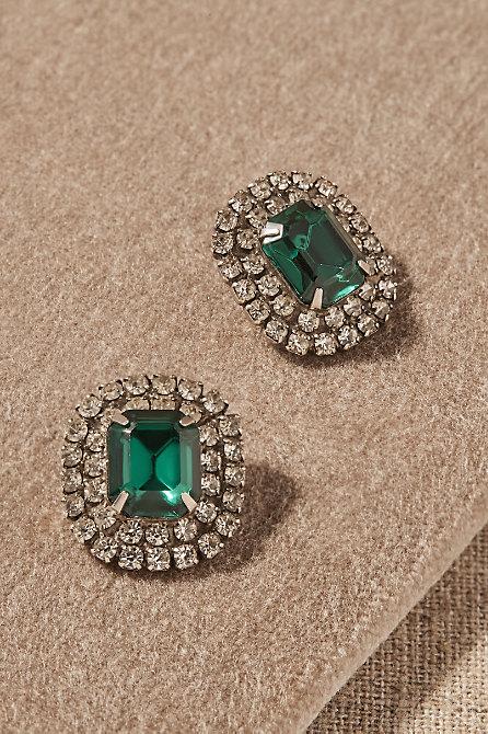 Vintage Green Glass Halo Earrings
