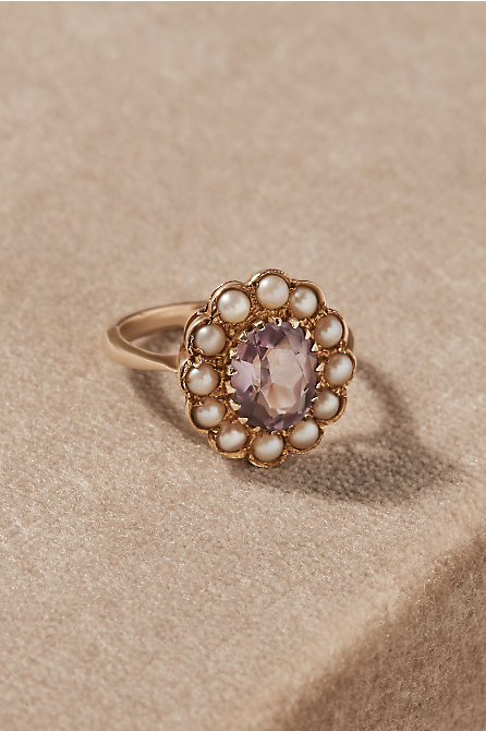 Vintage Amethyst & Pearl Cocktail Ring