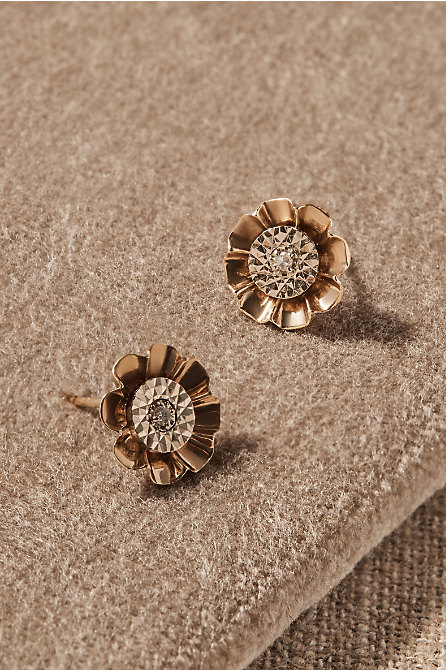 Vintage Diamond & Gold Flower Earrings