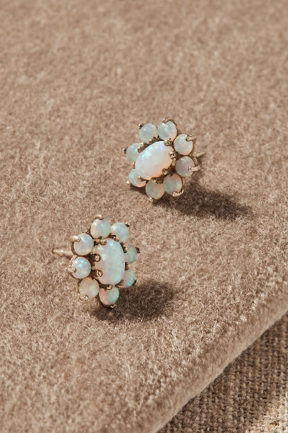 View larger image of Vintage Opal Cabochon Earrings