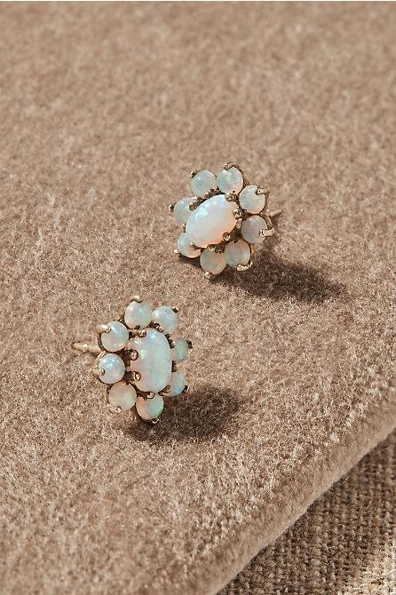 Vintage Opal Cabochon Earrings