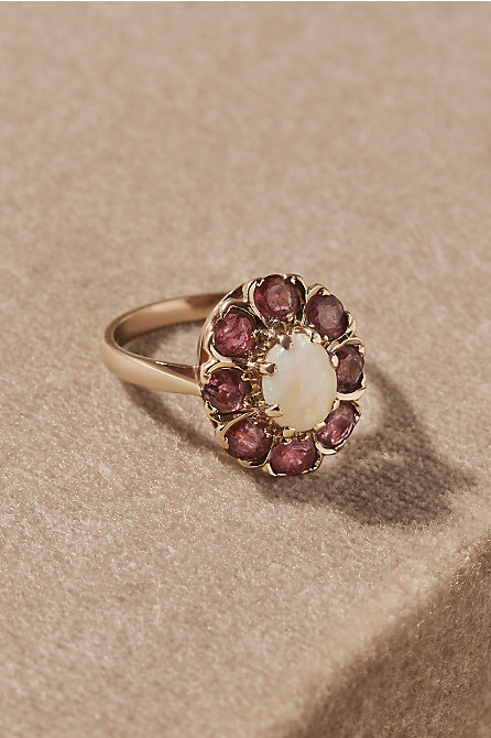 Vintage Opal & Ruby Cocktail Ring