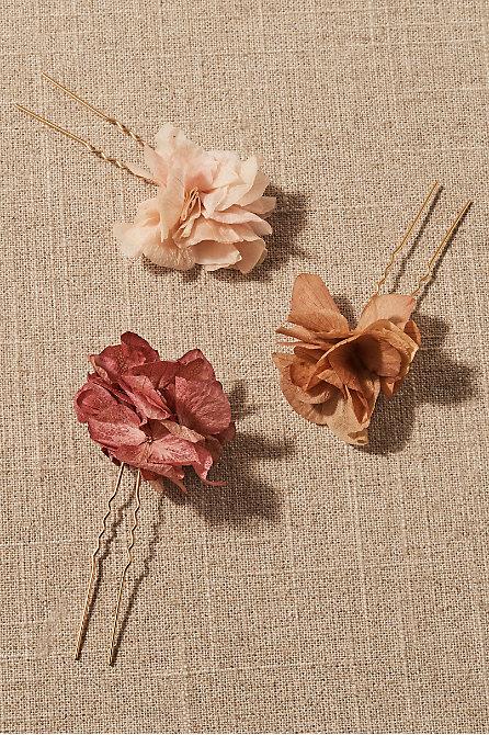 Daphne Preserved Flower Hair Pin Set