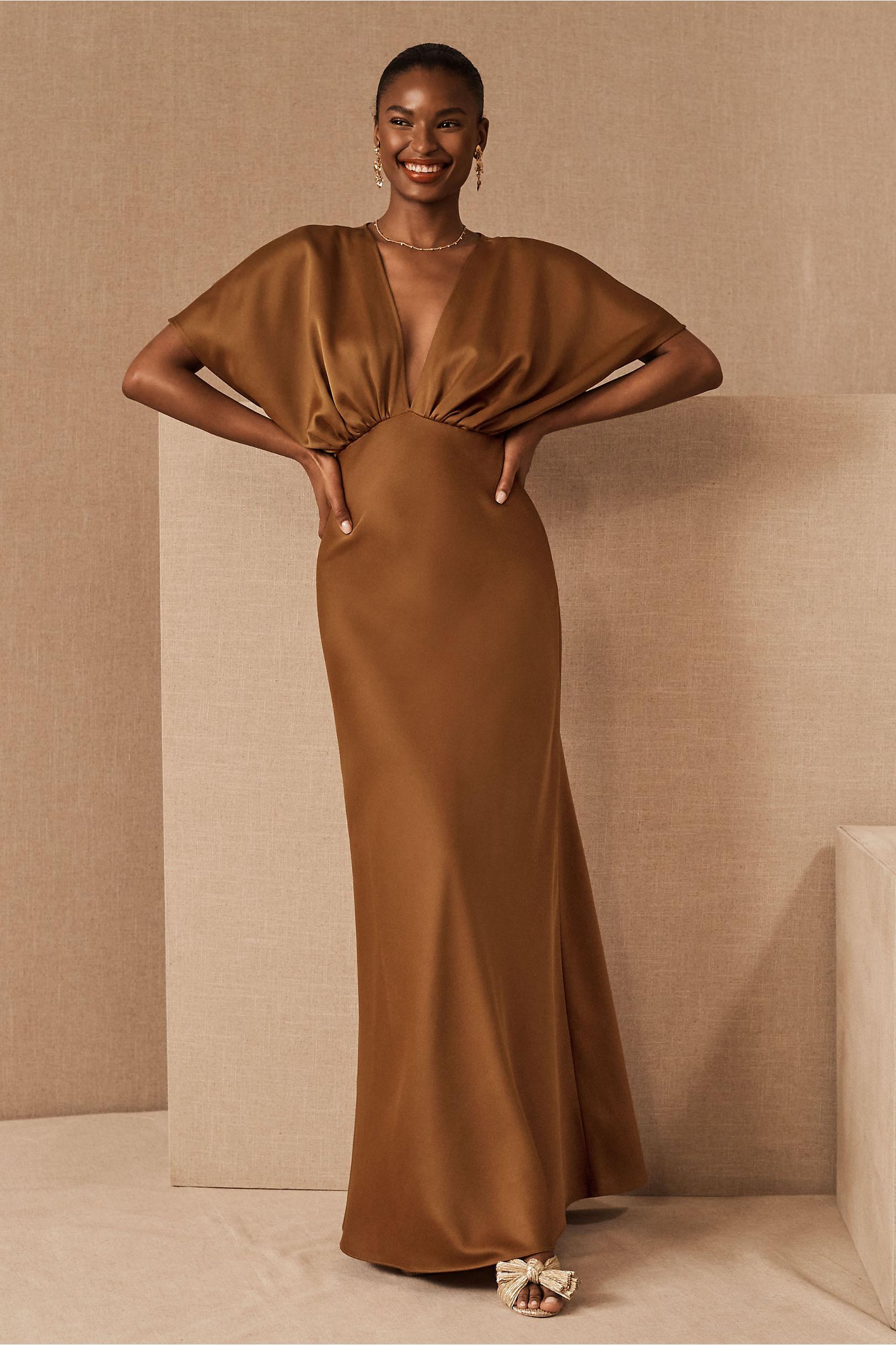 70s Sequin Dresses, Disco Dresses Leila Satin Charmeuse Maxi DressSize Guide Video $248.00 AT vintagedancer.com