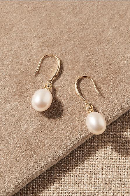 Wenda White Topaz & 14k Gold Earrings
