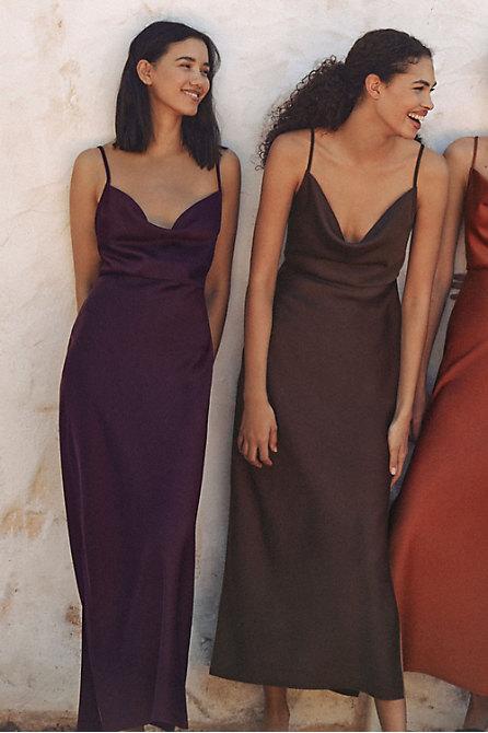 Cali Satin Charmeuse Midi Dress