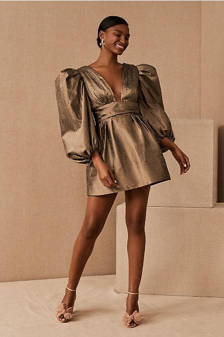 Watters Meringue Silk Mini Dress