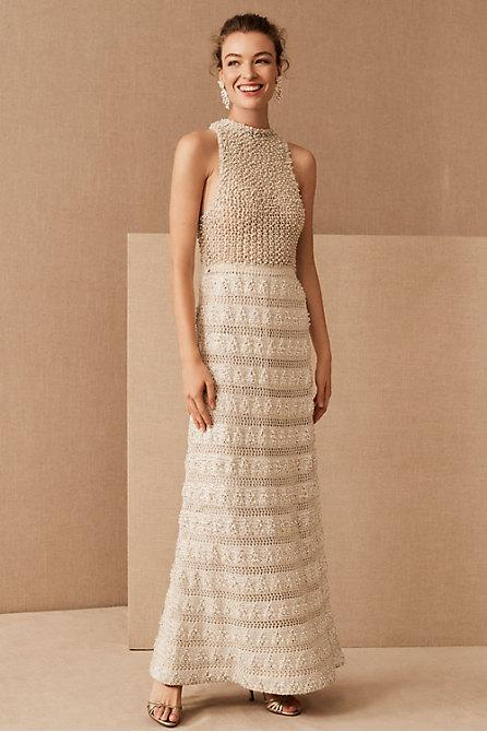 Vintage 1960s Jole Veneziani Crochet Pearl Gown