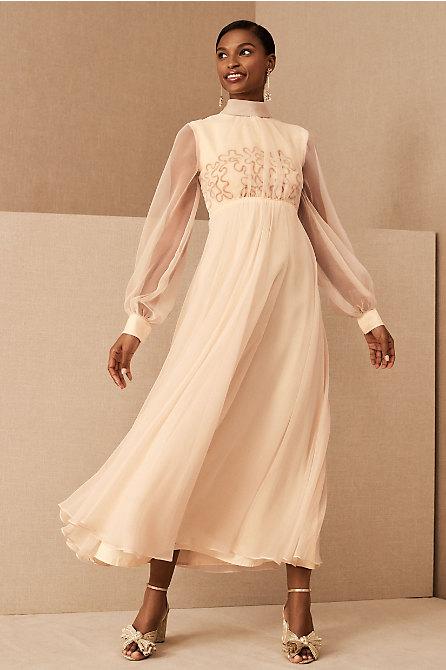 Vintage 1960s Peach Chiffon Gown