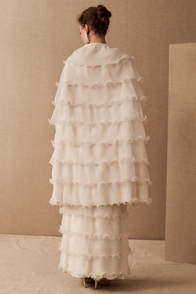 View larger image of Vintage Slip Gown, 1960s Wave Ruffle Skirt & Cape