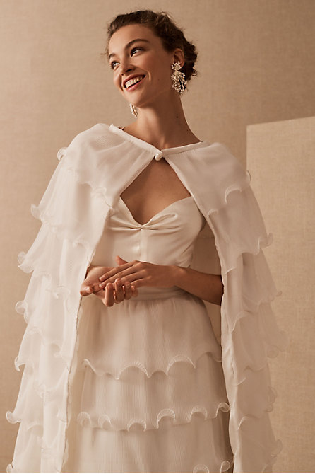 Vintage Slip Gown, 1960s Wave Ruffle Skirt & Cape