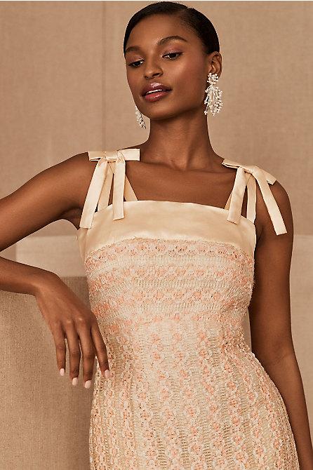 Vintage 1940s Peaches & Cream Ribbon Gown